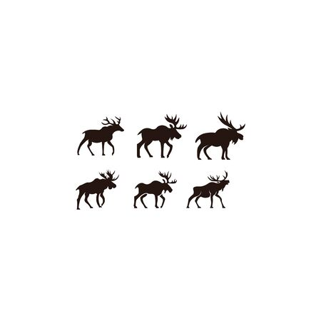 Horned Animals Silhouette Collection Deer Stag Moose Caribou Stok Fotoğraf - 134110025