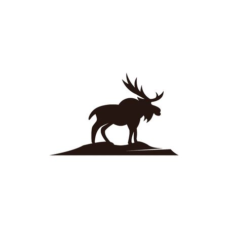 Horned Animals Silhouette Collection Deer Stag Moose Caribou Stok Fotoğraf - 134110034