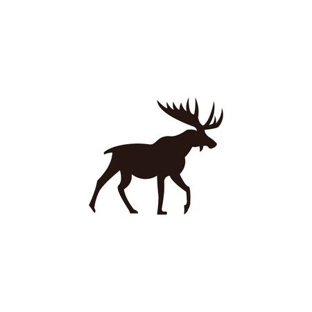 Horned Animals Silhouette Collection Deer Stag Moose Caribou Stok Fotoğraf - 134110163
