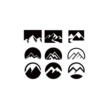 mountain landscape outdoor peak adventure silhouette logo set