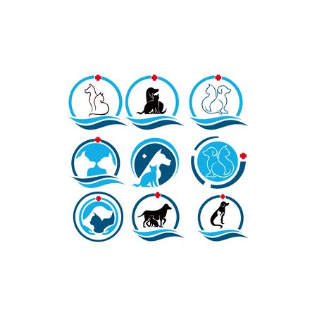 Hospital Health Animal Pet Care Veterinary Clinic Friends Safety Silhouette Graphic Love Circle Modern Healthcare Dog Cat Logo Icon Vector Design Template Ilustrace