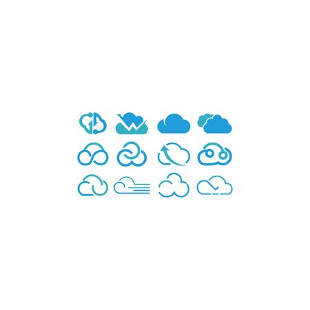 Cloud shapes design vector set. Data technology icons pack Illustration