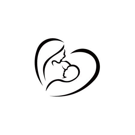 Signo de vector de lactancia materna. Madre con bebé recién nacido en brazos, símbolo de la mujer que amamanta al bebé. Madre amamantando a su bebé símbolo estilizado.