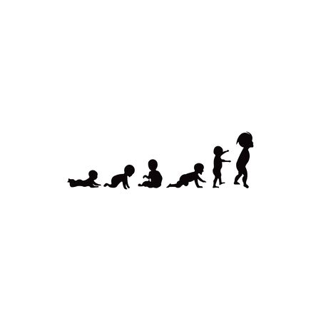 baby girl development icon, child growth stages. toddler milestones of first year to adulthood Illustration