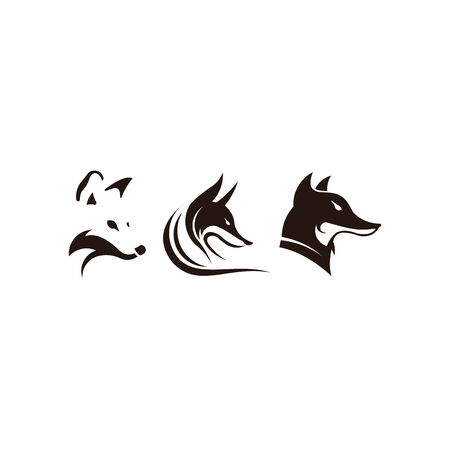Fox looking away. Vector logo on isolated white background. Logo design template with fox. Vector illustration. Иллюстрация