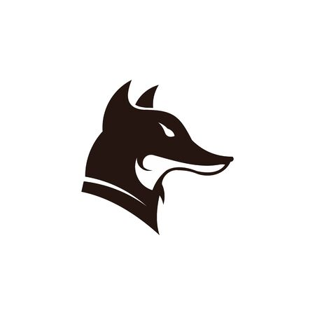 Fox looking away. Vector logo on isolated white background. Logo design template with fox. Vector illustration. 矢量图像