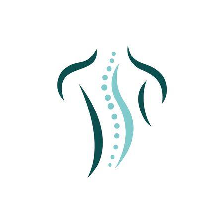 Kreatywna koncepcja kręgosłupa chiropraktyka szablon projektu logo