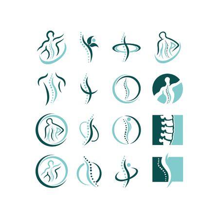 Plantilla de diseño de logotipo de concepto creativo de columna quiropráctica