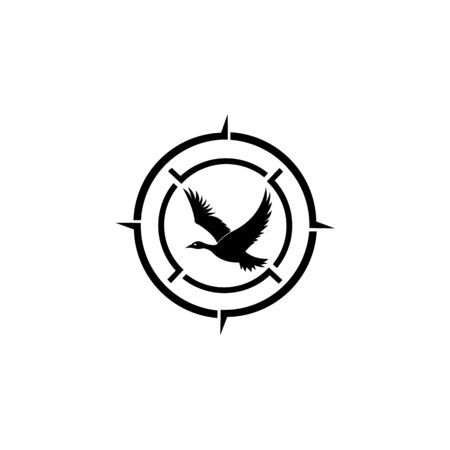 inspiration Hunting club logo with duck and target. Rifle lens aiming a duck