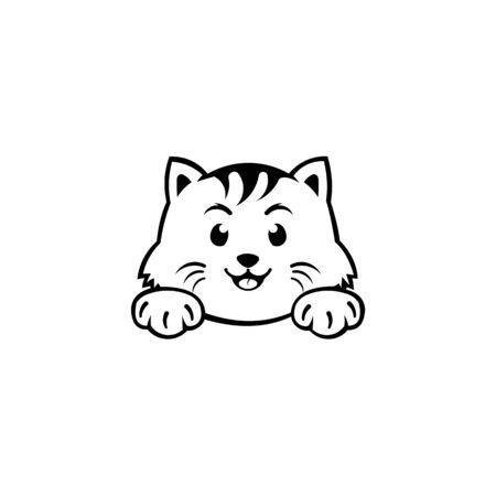 inspiración Retrato de un gato, Lindo gatito, Ilustración en blanco y negro de un gato, Mascota estilizada, Tatuaje de cabeza de gato.