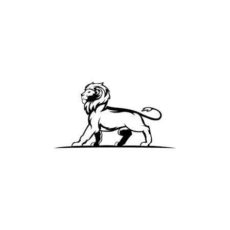 Lion Head Logo Design Vector, Silhouette of Lion,head two lion  Vector illustration Иллюстрация