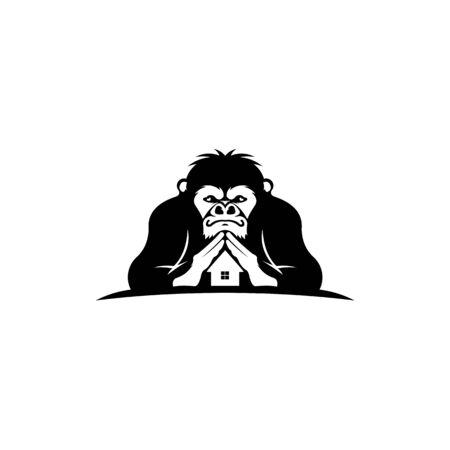 inspiration logo worker ape house,cartoon head monkey black big Ilustracja