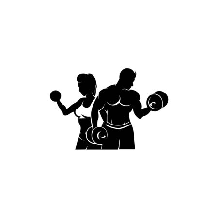 Physical Fitness, Sport Gym Logo,Bodybuilder with big muscles posing, isolated vector silhouette, Front view Archivio Fotografico - 134857009