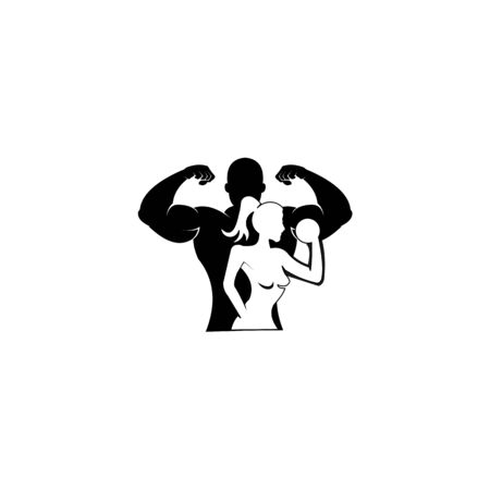 Physical Fitness, Sport Gym Logo,Bodybuilder with big muscles posing, isolated vector silhouette, Front view Archivio Fotografico - 134857012