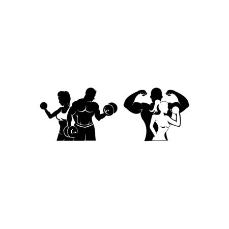 Physical Fitness, Sport Gym Logo,Bodybuilder with big muscles posing, isolated vector silhouette, Front view Illustration
