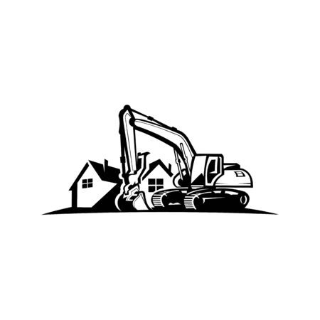 Excavation work logo design,excavator or building machine rental organisation print stamps, constructing equipment, Heavy excavator machine with shovel Stock Illustratie