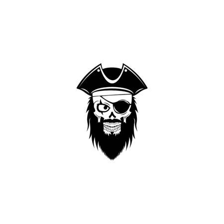 Pirate captain and knife vector, Human in pirate hat and eyepatch. Vintage logo, skull tattoo template design.