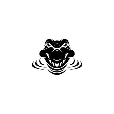 Crocodile head vector icon,crocodile filled flat sign for mobile concept and web design,Alligator animal glyph vector,crocodile Symbol, logo illustration  イラスト・ベクター素材