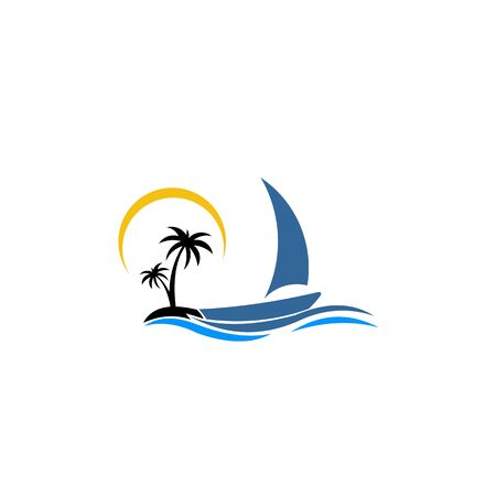 inspiration logo of a boat with palm. Vector icon ship in the sea with text isolated. Round emblems for design of business, holiday, travel agency, yachting club, voyage, round trip and cruise concept.