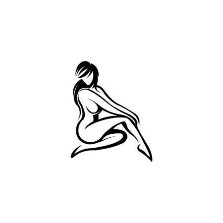 Young female body outline silhouettes vector beauty logo, Woman body beauty sketch, figure