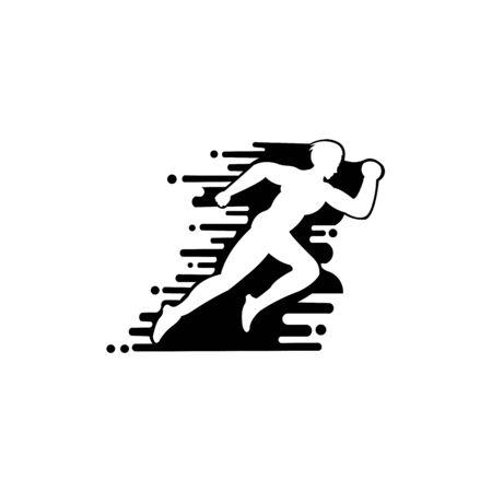 Icône de style plat de vecteur d'homme de jogging rapide pour équipe sportive, club de coureurs, marathon de triathlon pour logo Logo