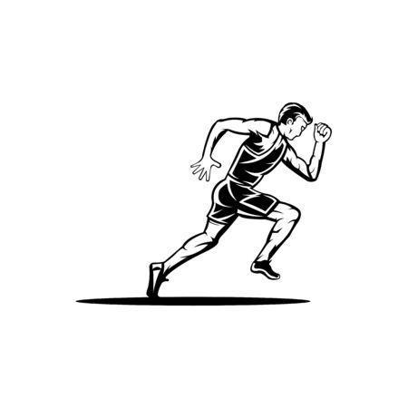 Vector flat style icon of fast jogging man for sport team, runner club, triathlon marathon for logo Фото со стока - 138421444