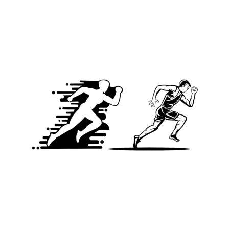 Vector flat style icon of fast jogging man for sport team, runner club, triathlon marathon for logo