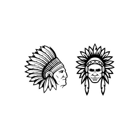 inspiration north american indian chief wearing traditional feather headdress black and white vector portrait Vettoriali