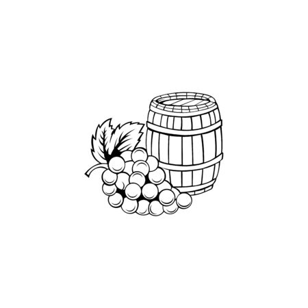 Bottle of grape wine vector ,Bunch of grapes and a bottle of wine  Beer barrel