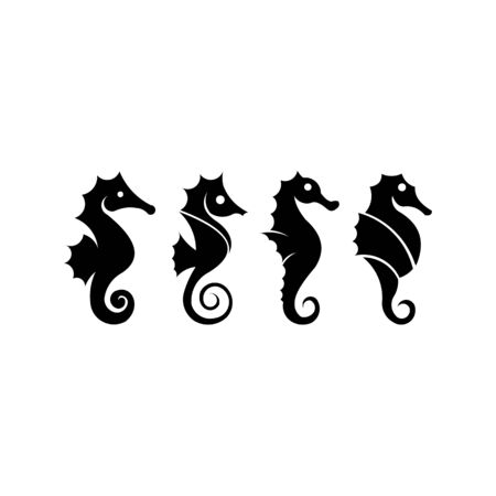 Seahorse graphic  Sea life symbol, Black silhouette seahorse isolated on white background, Seahorse high detailed Vector Ilustração