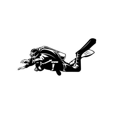 Grafik-Tauchlogo-Vorlage mit Taucher, der unter Wasser schwimmt, Tauchen, Schnorchel-Logo, Logo-Design mit stilisiertem Taucher