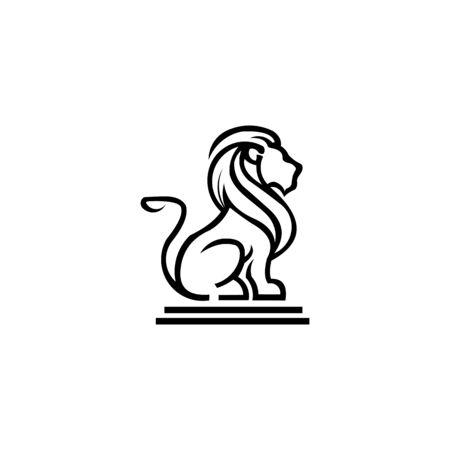 ispirazione Leone araldico vettoriale, leoni di linea e silhouette per armi, icona di leone araldico animale, insegne reali per l'illustrazione dello scudo Vettoriali