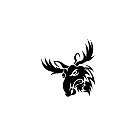 logo illustration of head of a angry moose or elk looking to side on isolated background in retro style. 向量圖像