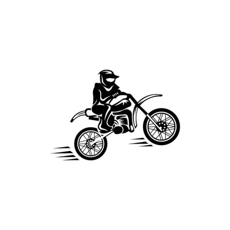inspiration Motocross Rider and Motorcycle Silhouette Isolated Vector Illustration