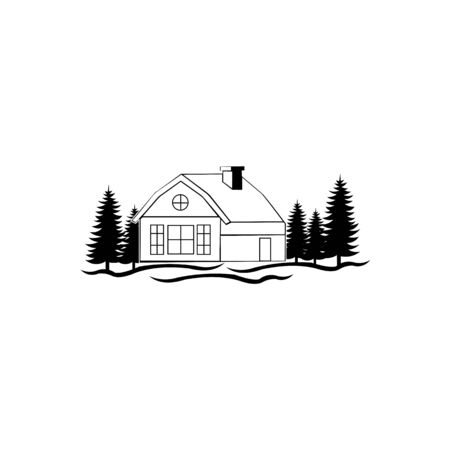 real estate logo inspiration with nature concept,cabin icon trendy and modern cabin symbol for logo