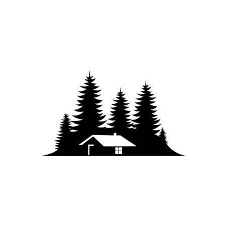 ispirazione del logo immobiliare con il concetto di natura, icona della cabina simbolo della cabina alla moda e moderna per il logo Logo