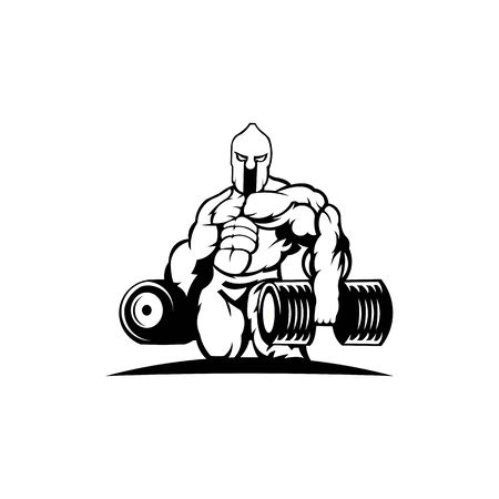 strong spartan athlete with dumbbell, logo for gym or fitness club