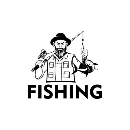 fisherman with hat holding fishing rod and fish, Fly fishing tournament logo Logo