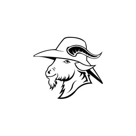 logo animal goat wearing a hat,goat wearing cowboy hat