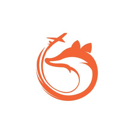 Fox travel logo  white background illustration design Travel the World