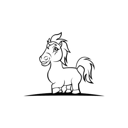 Horse drawing, Vector drawing of a galloping horse, Cartoon horse illustration in flat style