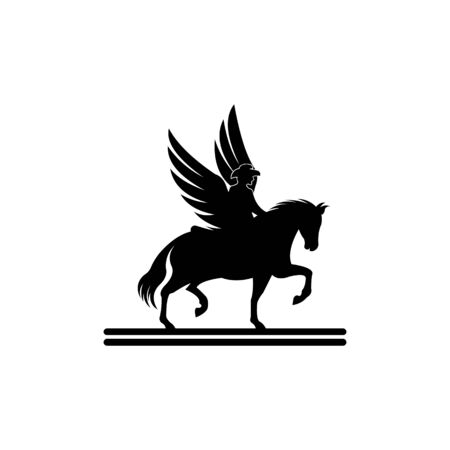 Pegasus mythical winged horse in Silhouette,Vector black silhouette of pegasus horse with wings