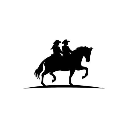 men and women with lasso riding a horse ,A cowboy riding a horse in silhouette Ilustração
