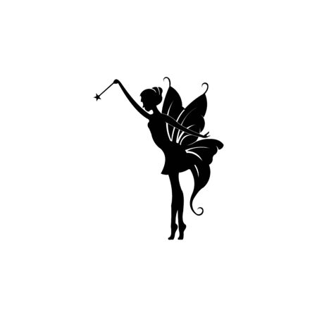 inspiration Cute flying fairy with magic wand, fairy logo with rustic grunge wings