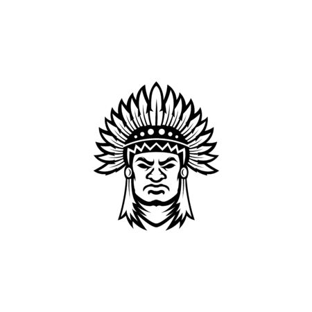 inspiration north american indian chief wearing traditional feather headdress black and white vector portrait