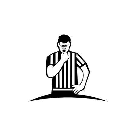 Whistling soccer referee showing stopping hand during match, Sport , football arbitrator, whistle icon soccer judge, football coach, police blow. Ilustración de vector