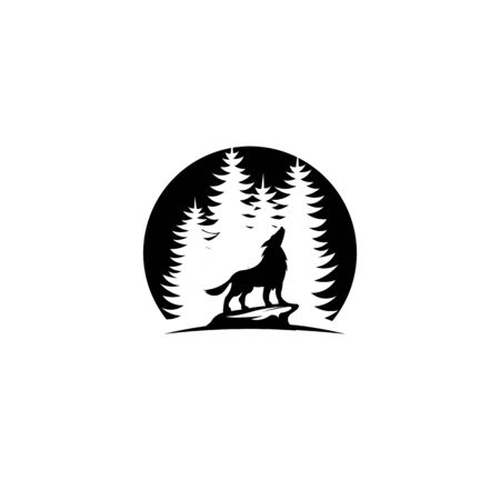 logo with wolf,Wolf standing on the stone  and  Forest spruce trees