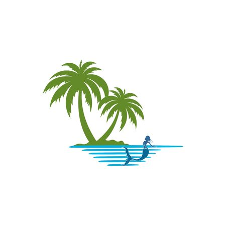 logo a mermaid on the island,Tropical palm on island with sea and sailboat  Vector logo