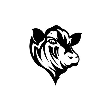 Cow stylized symbol and cow head portrait Silhouette of farm animal Vector Illustration