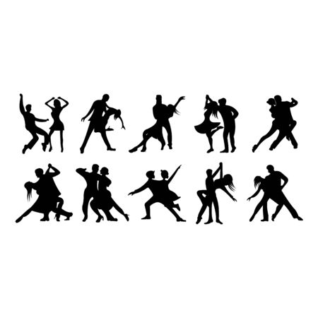 set of Detailed vector illustration silhouettes of expressive dance people dancing